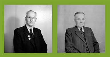 Haldor Haldorsen, fabrikkeigar Wichmann Motorfabrikk og stortingsmann, og Ola Olsen, kontorsjef ved Wichmann Motorfabrikk