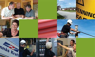 Collage som visar tilsette og aktivitetar i Kraftlaget omkring 60 års jubileet i 2006