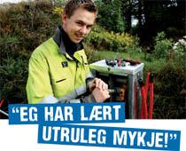 """Bilde av tilsett Steffen Rolfsnes som uttalar """"Eg har lært utruleg mykje"""""""